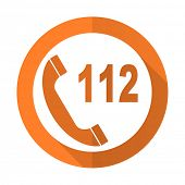 stock photo of accident emergency  - emergency call orange flat icon 112 call sign  - JPG