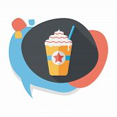 image of frappe  - Frappucino Flat Icon With Long Shadow - JPG