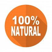 stock photo of 100 percent  - natural orange flat icon 100 percent natural sign  - JPG