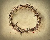 picture of crown-of-thorns  - Crown of thorns over vintage cloth with blood drops - JPG