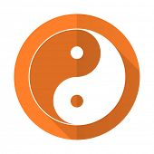 picture of ying-yang  - ying yang orange flat icon  - JPG