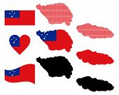 stock photo of samoa  - map flag and symbol of Samoa on a white background - JPG