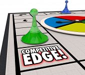 stock photo of competition  - Competitive Edge words on a board game to illustrate a special advantage of one player winning a competition - JPG