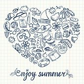 picture of butterfly fish  - Summer doodle card with heart shape on white - JPG