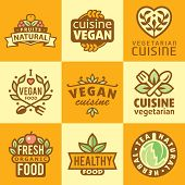 foto of food label  - Fresh Organic Labels and Elements - JPG
