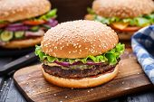 stock photo of beef-burger  - Beef burger with pickles - JPG
