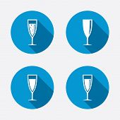 stock photo of sparkling wine  - Champagne wine glasses icons - JPG