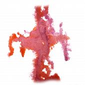 image of insults  - abstract hand pink drawn watercolor blot insult Rorschach psychology - JPG