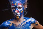 picture of muse  - Young woman muse with creative body art and hairdo - JPG