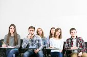 picture of students classroom  - Group of students sitting in classroom - JPG