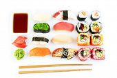 picture of sushi  - Sushi pieces collection isolated on white - JPG