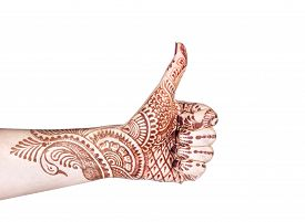 image of mudra  - Woman hand with henna doing Merudanda mudra isolated on white background with clipping - JPG