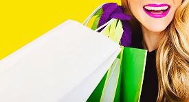 picture of nerd glasses  - Happy fashion lady with shopping - JPG