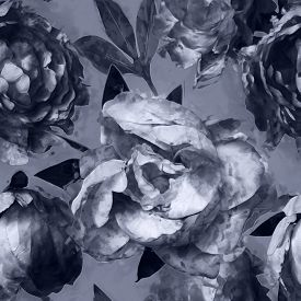 stock photo of garden-art  - art vintage monochrome floral seamless pattern with white and black peonies on grey background - JPG