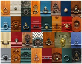 stock photo of unicity  - Collage of a variety of knockers and handles on doors in Paris - JPG