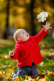 image of crawl  - Cheerful baby in a red dress playing with yellow leaves - JPG
