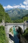 pic of west village  - Napoleon Bridge outside the Slovenian village of Kobarid in the north west Littoral region - JPG
