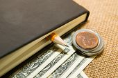 picture of memento  - notebook with a blank sheet pencil and money on the old tissue - JPG
