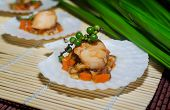 image of scallop shell  - Seared scallops with vegetables - JPG