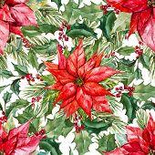 image of christmas flower  - Beautiful vector pattern with nice watercolor christmas flowers - JPG