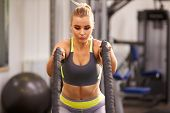 foto of battle  - Young woman preparing to work out with battle ropes at a gym - JPG
