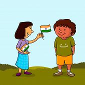 stock photo of indian independence day  - Cute little girl giving Indian National Flag to a boy on nature background on occasion of Independence Day celebration - JPG