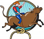 picture of bucks  - Illustration of rodeo cowboy riding bucking bull viewed from the side with lasso rope and sunburst in the background done in cartoon style - JPG
