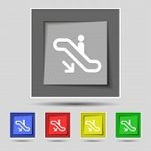 picture of escalator  - elevator Escalator Staircase icon sign on original five colored buttons - JPG