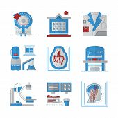 pic of ct scan  - Set of colored flat design vector icons for medical research - JPG