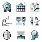 picture of ct scan  - Flat color design icons vector collection for MRI research elements - JPG