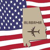 pic of alabama  - Alabama Air Travel Vector Concept - JPG