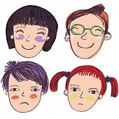 picture of emo-boy  - 4 cartoon faces - JPG