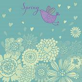 stock photo of summer fun  - Floral summer background with cartoon bird - JPG