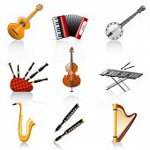 stock photo of bagpipes  - musical instruments - JPG