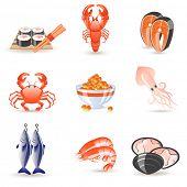 Постер, плакат: Морепродукты значки