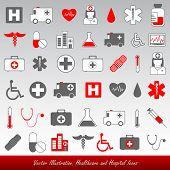 Постер, плакат: Медицинские и медицинские векторные иконки