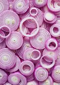 Red Onion Slices. Sliced red onion rings. poster