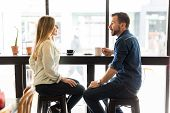 Couple Dating In A Coffee Shop poster