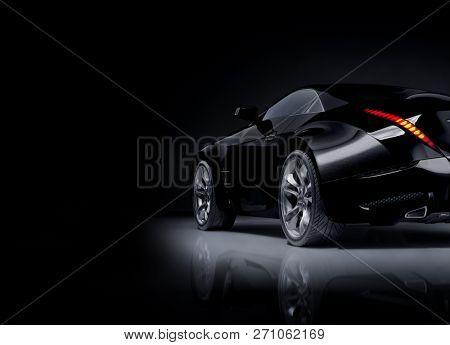 poster of Black sports car. Non-branded original car design. 3D illustration.