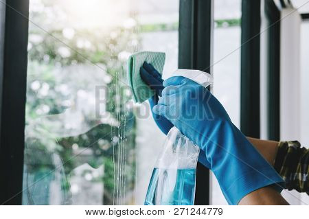Husband Housekeeping And Cleaning Concept