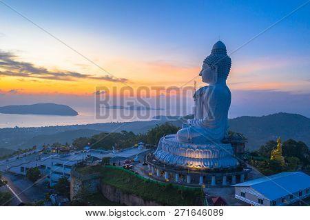 poster of scenery aerial photography sunrise at Phuket big Buddha. Phuket Big Buddha is one of the island most