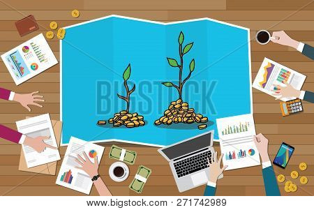 poster of Investment Tree Team Discuss Invest Investment Business On Top Of Wood Wooden Table With Graph And C