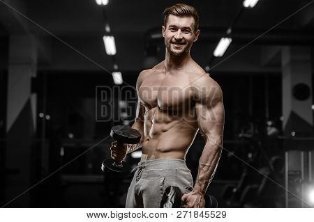 poster of Sexy Strong Bodybuilder Athletic Men Pumping Up Muscles With Dumbbells
