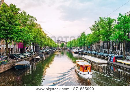 Channel In Amsterdam At Sunset