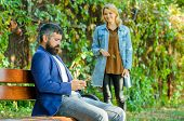 Man Bearded Hipster Wait Girlfriend. Park Best Place For Romantic Walk. Great Date Tips. Love Relati poster