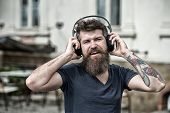 Hipster Enjoy High Quality Sound Of Song In Headphones. Get Music Subscription. Enjoy Free Songs Eve poster