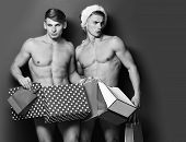 Young Handsome Macho Santa Tough Twins With Sexy Muscular Athletic Strong Body Has Bare Torso And St poster