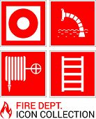 Fire Emergency Icons Set. Signs Of Fire Safety: Fire Hydrant, Fire Escape, Fire Alarm Button, Fire W poster