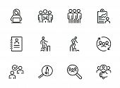 Career Ladder Line Icon Set. Set Of Line Icons On White Background. Human Resource Concept. Employee poster