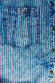 Blue Washed Faded Jeans Striped Texture With Seams, Clasps, Buttons And Rivets poster